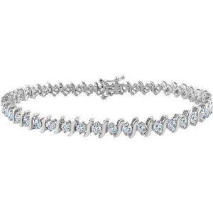 Diamond Tennis Bracelet Solid White Gold 14K Fine